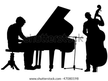Vector drawing pianist and bass on stage. Silhouettes on white background