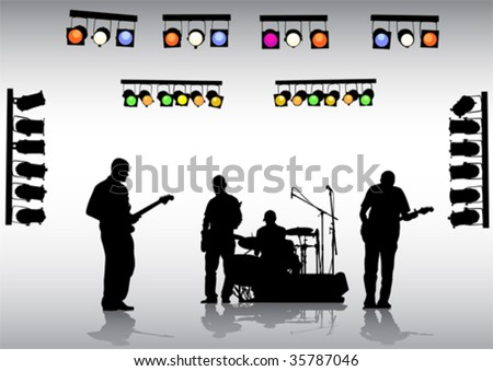 Vector drawing rock band on the stage and lighting equipment