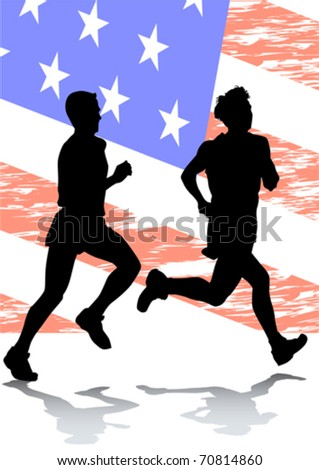 Vector drawing running athletes on american flag