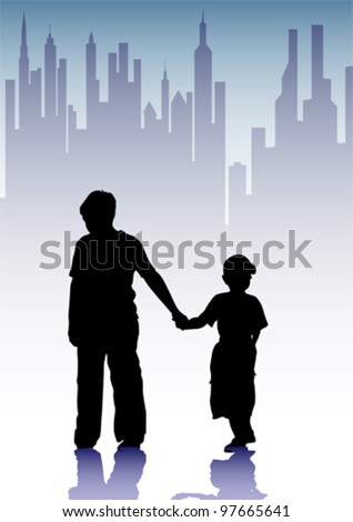 Vector drawing silhouette childrens in city
