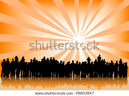 Vector drawing silhouette crowds and sun