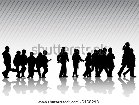 Vector drawing silhouette crowds childrens on street