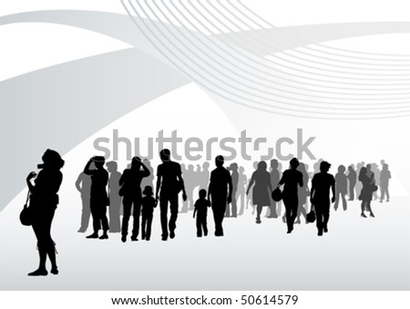 Vector drawing silhouette crowds in interior