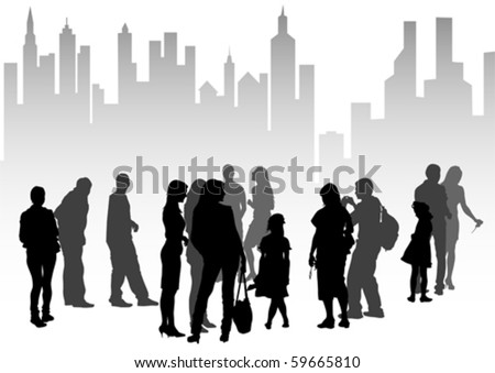 Vector drawing silhouette crowds people on street