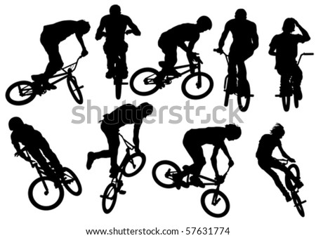 Vector drawing silhouette of a cyclist boy and girl. Silhouette of people - stock vector