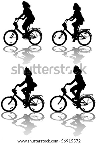 Vector drawing silhouette of a cyclist women. Silhouette on white background
