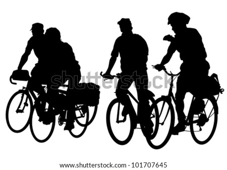 Vector drawing silhouette of a people crowd