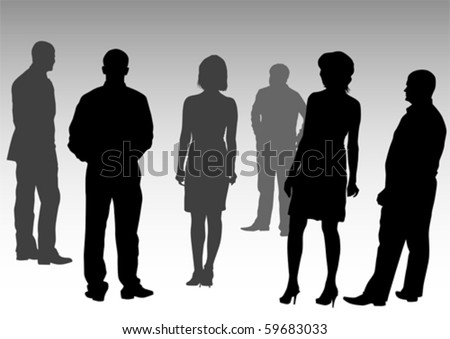 Vector drawing silhouettes of people business
