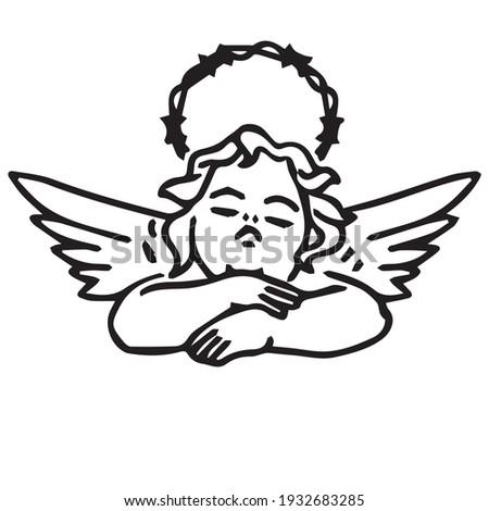 Vector drawing simple tattoo line sketch angel dangerous barbed wire wings machine flying old school tattoo black white hipster stylish fashionable youth love pain