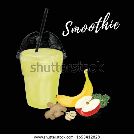 Vector drawing smoothie contains banana, apple, ginger and kale in cup to go. Black background, chalk style, digital drawing.