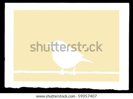 vector drawing sparrow on branch