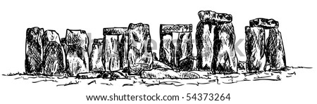 vector - drawing stonehenge isolated on background