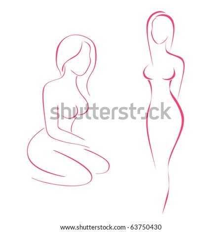 vector drawing symbol of women