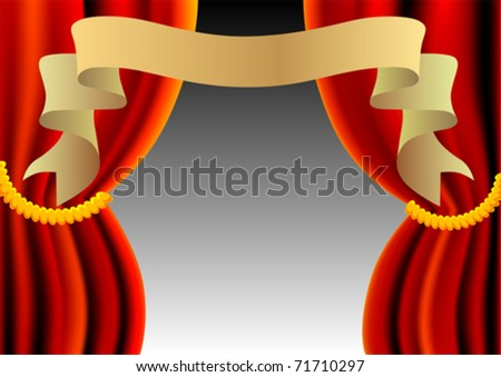 Vector drawing theater red curtain and ribbon - stock vector