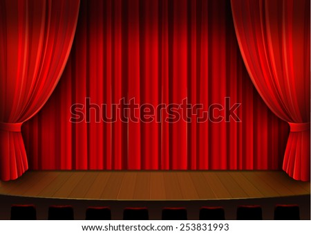 Vector drawing, theater stage with red curtain