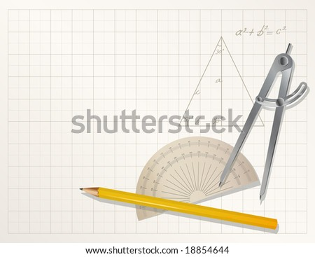 vector drawing tools - pencil, protractor, divider
