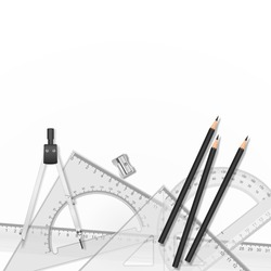 Vector drawing tools. School drawing tools, ruler, pencil, compasses and sharpener on white background