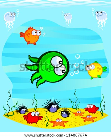 Vector drawing. Underwater World. Cartoon cute marine animals on the sandy bottom.At the heart of an octopus.