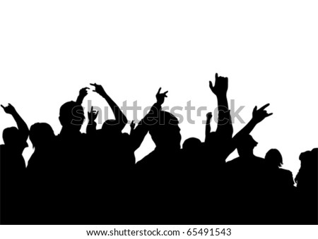 Vector drawing viewers to scene. Crowd with their hands