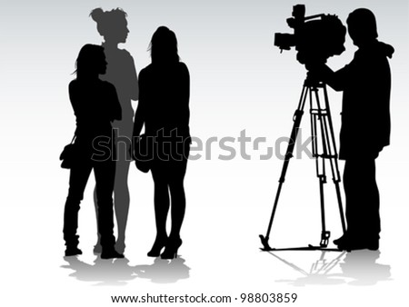 Vector drawing women and television cameras