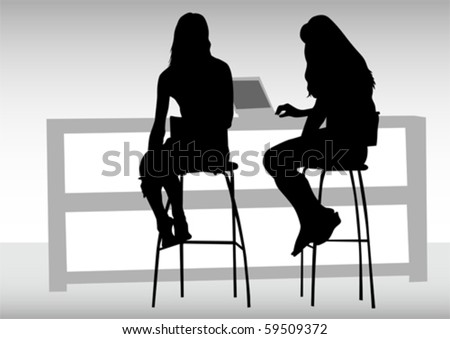 Vector drawing women from office. Images workplace