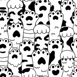 Vector drawings graphics black sketch paw pets seamless pattern. Collection of various cute cartoon domestic animal foot isolated on white background. Funny fur pet dangerous claws