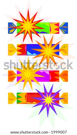 Vector drawings of traditional English Christmas crackers or party crackers. Illustrator EPS.