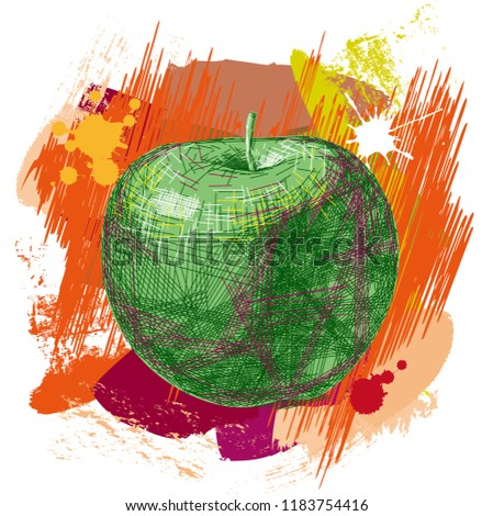 vector drawn apple  colorful