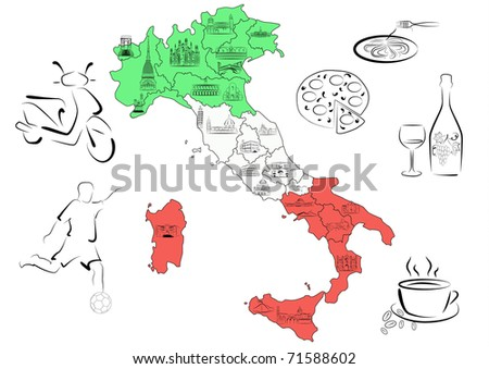 Vector drawn map of Italy divided by regions with main sights of each region.