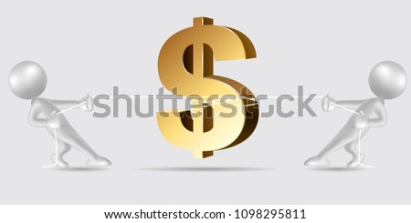 Vector drawn people symbol,tug of war, the dollar symbol is in the middle.