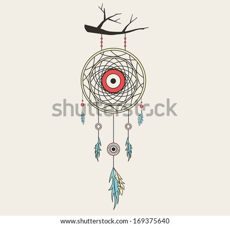 vector dream catcher flat
