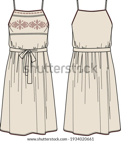 Vector dress with embroidery fashion CAD, woman midi dress with shoulder straps technical drawing, template, flat, sketch Сток-фото ©
