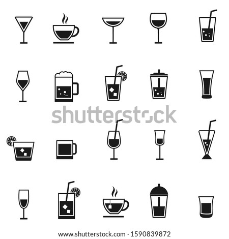vector drink icons set black on white background Сток-фото ©