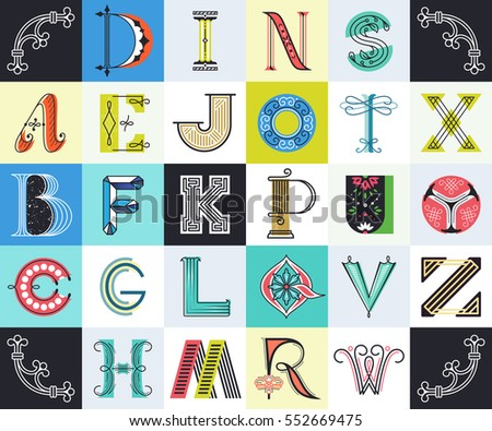 Big Collection Of Different Style Color Letters Latin Assorted