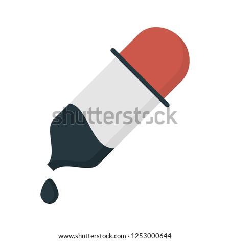 vector dropper icon, eyedropper illustration - medical instrument, science symbol