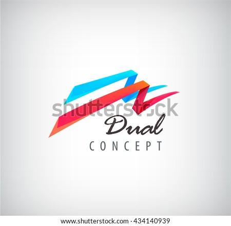 vector dual concept logo  2 3d