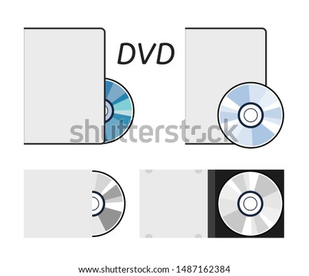 vector dvd or cd disc icons isolated on white background. set of compact discs for data storage. music or video record dvd disks.