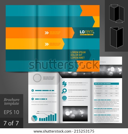 Vector dynamic brochure template design with orange and blue arrows