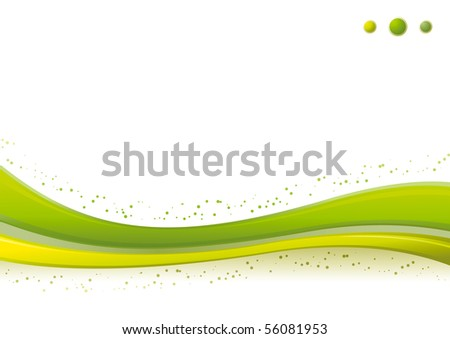 Vector dynamic green Wave/Points background template.