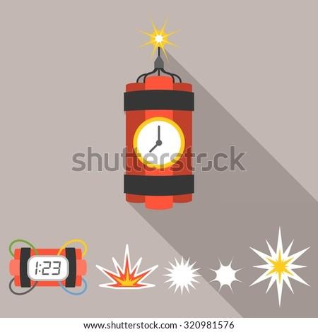 vector dynamite icons set  flat