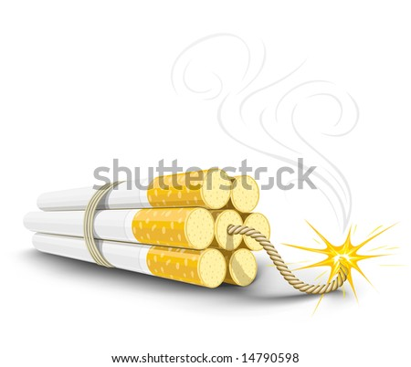 vector dynamite made from cigarettes, illustration shows danger of smoking