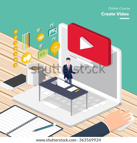 Vector e-learning concept in flat style - digital content and online webinar how to make money with video. Zdjęcia stock ©