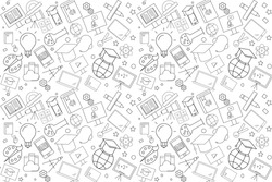 Vector e-learning pattern. E-learning seamless background