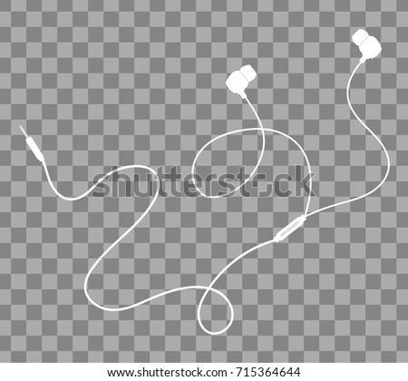 Vector earphones with connector and switch controller. Isolated object on transparent background. Flat lay design