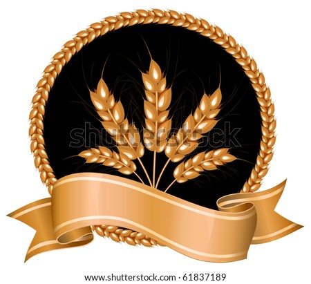 Vector. Ears of wheat on black background.