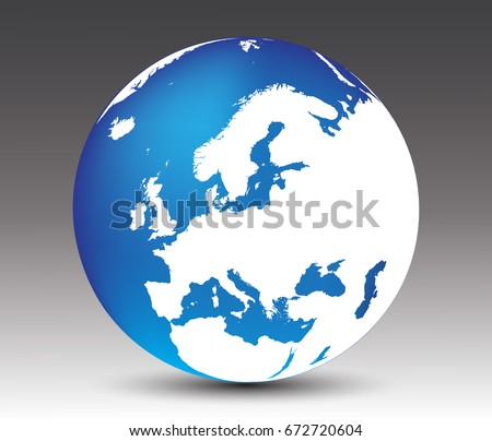 Vector earth globe icon with map of Europe.
