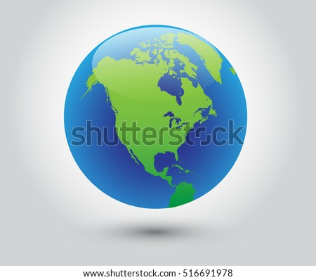 Vector earth globe icon world with map of North America.