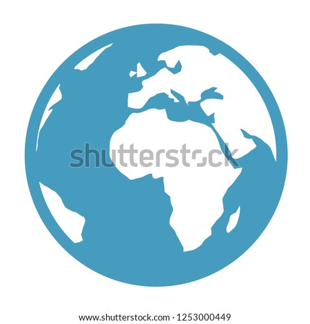Vector earth globe illustration. planet symbol. world map icon