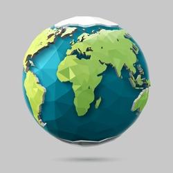 Vector earth globe illustration. Polygonal planet. Low poly design.