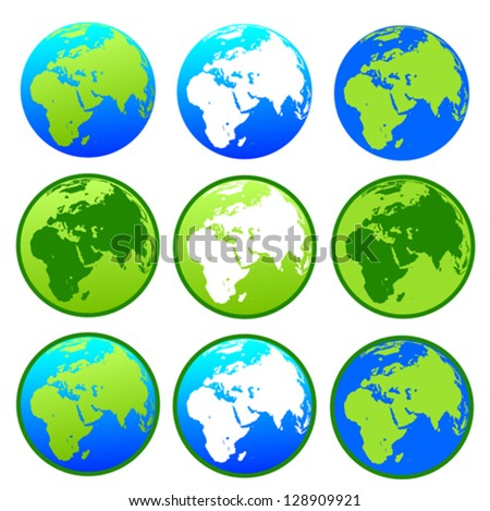 Vector Earth globes  isolated on white background